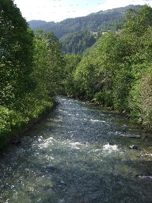 橋の上から見る小川の流れ