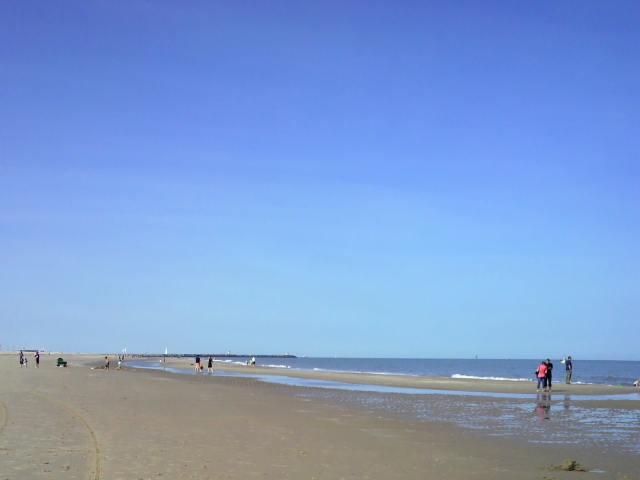 北海の砂浜 ・・・ 冷たいのか、泳ぐ人は見なかった。
